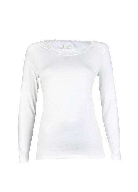 RJ Bodywear thermo shirt lange mouwen kant dames wolwit
