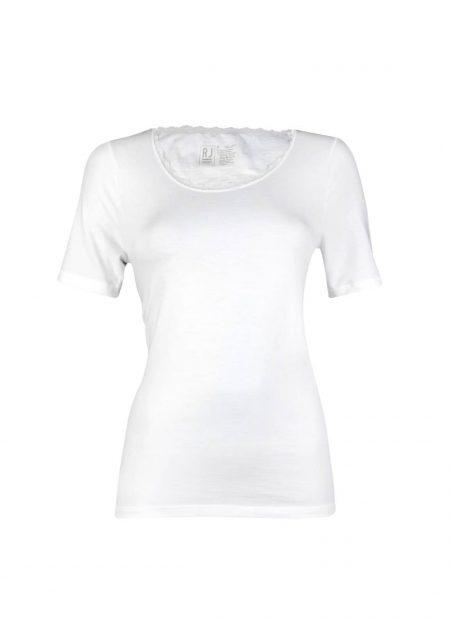 RJ Bodywear thermo shirt korte mouwen kant dames wolwit